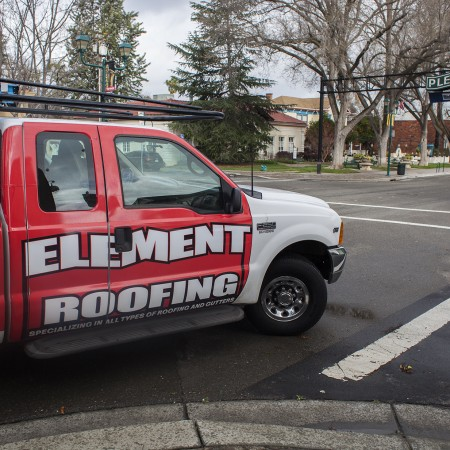 Element Roofing Truck Driving in Downtown Pleasanton CA